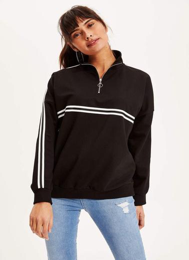 DeFacto Şerit Detaylı Relax Fit Fermuarlı Yakalı Sweatshirt Siyah